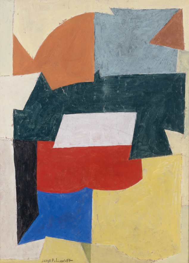 Serge_Poliakoff_1951_Composition_abstraite_tempera_on_paper_58x42.5cm