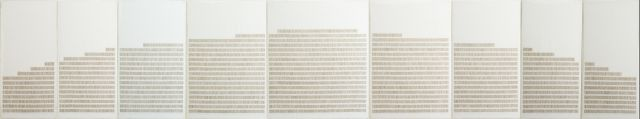 Corrie de Boer-Series Regels Last Horizon no.1 1978 thread on canvas 9 parts 76 x 400 cm